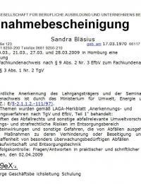 """Fachkundennachweis nach § 9 Abs. 2 Nr. 3 EfbV """"Abfallrecht und Umweltvorschriften"""""""